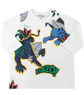 KENZO KIDS White T-shirt with colorful tigers