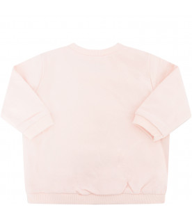 KENZO KIDS Pink sweatshirt with colorful tiger and paw