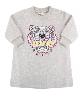 KENZO KIDS Grey dress with colorful tiger