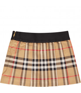 BURBERRY KIDS Gonna beige con logo nero