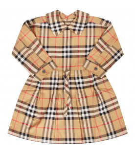 BURBERRY KIDS Beige girl dress with coulisse