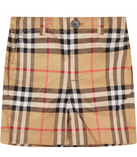 BURBERRY KIDS Beige boy short with white logo