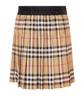 BURBERRY KIDS Beige girl skirt with black logo