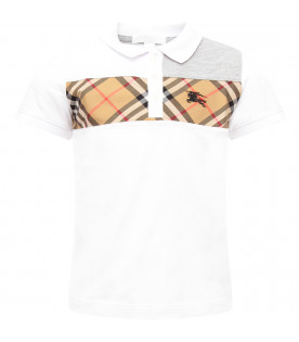 BURBERRY KIDS White boy polo shirt with Vintage checj detail