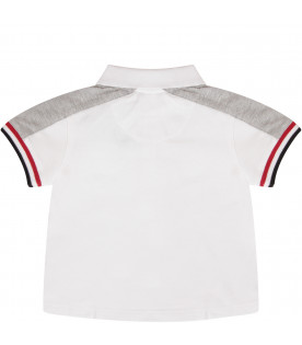 BURBERRY KIDS White polo shirt with melanged grey details