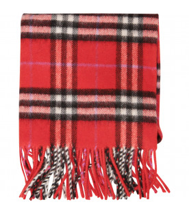 BURBERRY KIDS Red check scarf