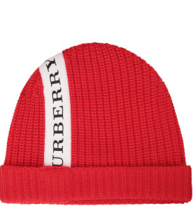 BURBERRY KIDS Red beanie hat with logo