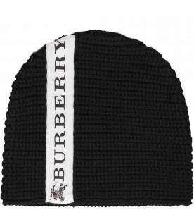 BURBERRY KIDS Black beanie hat with logo