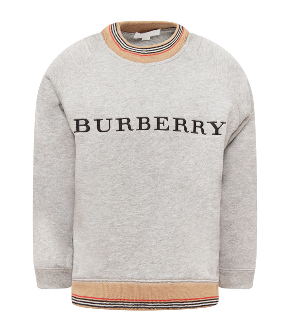 BURBERRY KIDS Melanged grey sweathsirt with black logo