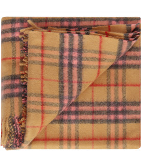 BURBERRY KIDS Vintage check blanket with pink details