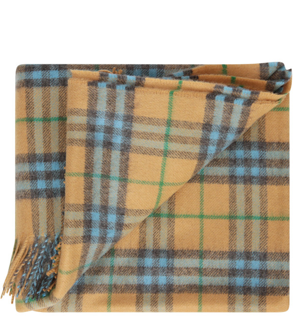 BURBERRY KIDS Vintage check blanket with light blue details