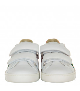 GUCCI KIDS White sneaker with Web's detail