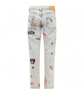 GUCCI KIDS Jeans bambina celeste con patch colorati