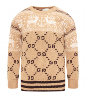 GUCCI KIDS Camel boy sweater with white reindeers