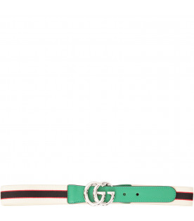 GUCCI KIDS Multicolor belt with red and blue logo