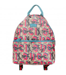 GUCCI KIDS Beige and light blue backpack with panthers