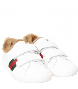 GUCCI KIDS White sneakers with faux fur