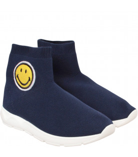 Blue socks sneaker with smile