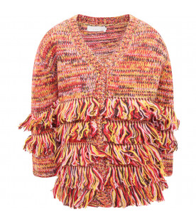 STELLA MCCARTNEY KIDS Cardigan bambina multicolor con frange