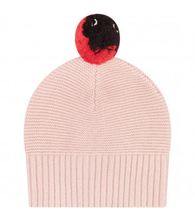 STELLA MCCARTNEY KIDS Cappello rosa con pom pom