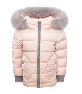 HERNO KIDS Pink girl jacket with hood
