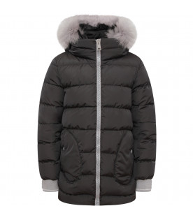 HERNO KIDS Black girl jacket with hood