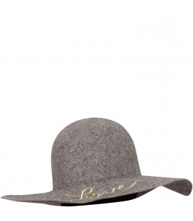 CHLOÉ KIDS Grey hat with gold plate