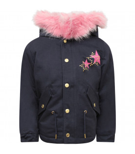 LITTLE MARC JACOBS Parka bambina blu con logo colorato
