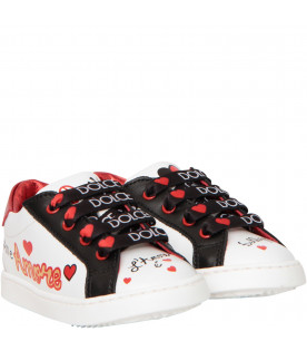 DOLCE & GABBANA KIDS White sneakers with black logo