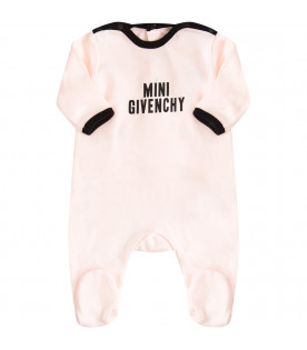 GIVENCHY KIDS Pink babygrow with black logo