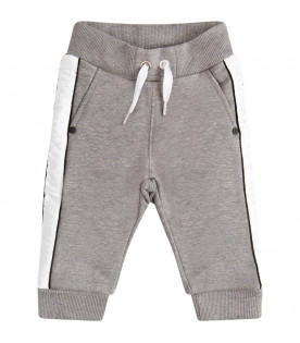 GIVENCHY KIDS Grey pants with silver logo