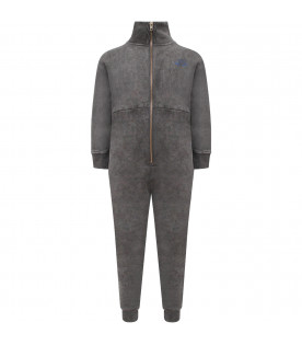 BOBO CHOSES Grey boy overalls with blue jumpsuit