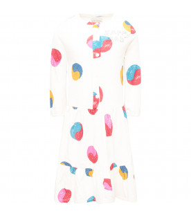 BOBO CHOSES Ivory girl dress with colorful Yin Yang printed