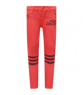 Red boy pants with black print