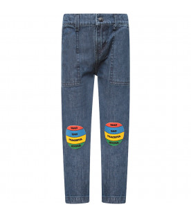 BOBO CHOSES Blue boy jeans with colorul patches