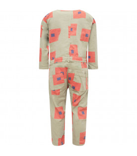 BOBO CHOSES Military green boy jumpsuit with orange and blue square