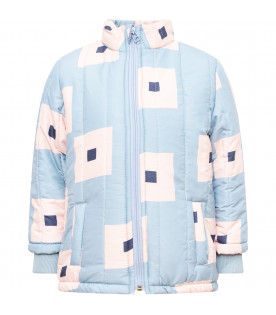 BOBO CHOSES Light blue jacket with pink and blue square