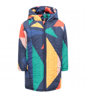 BOBO CHOSES Blue parka with colorful geometrical figures