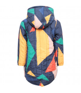 BOBO CHOSES Parka bambina blu con figure geometriche colorate