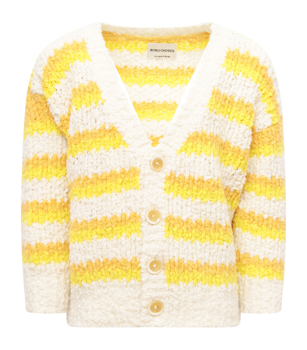 BOBO CHOSES Colorful cardigan with blue logo