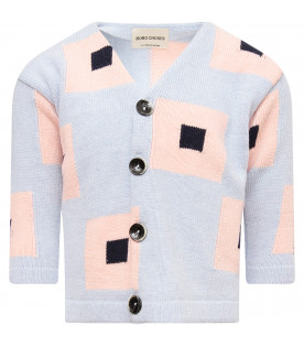 BOBO CHOSES Light blue girl cardigan with colorful square