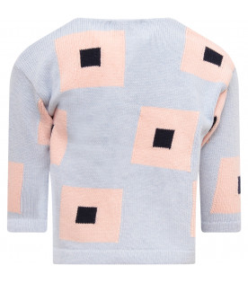 BOBO CHOSES Cardigan bambina celeste con quadrati colorati