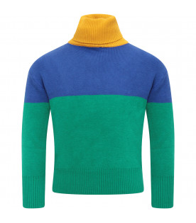 BOBO CHOSES Multicolor boy sweater with blue logo