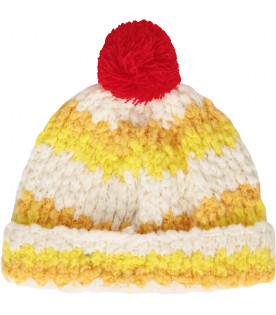 Colorful hat with red pom-pom