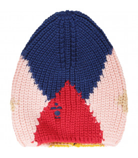 Multicolor beanie hat with blue logo