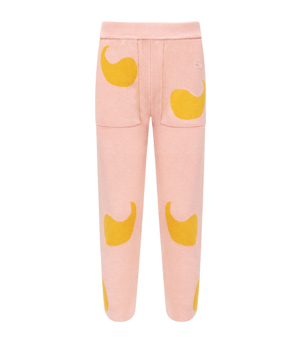 BOBO CHOSES Pink girl sweatpant with red logo