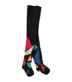 Black stockings with colorful geometric figure