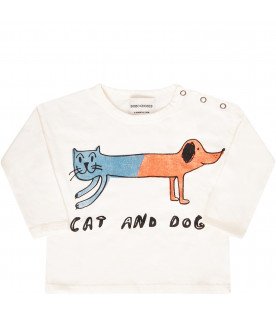 BOBO CHOSES Ivory T-shirt with orange dog and light blue cat