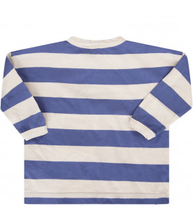 BOBO CHOSES Blue and grey striped T-shirt