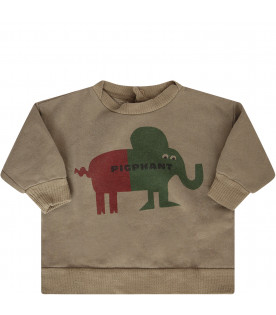 BOBO CHOSES Military green sweatshirt with red and green elephant